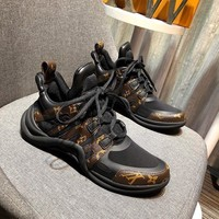 Beauty Ticks Lv Louis Vuitton Men's Leather Sneakers Shoes #65679