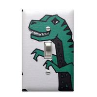 WEEKEND SALE Modern Dinosaur Switchplate / Baby Boy Nursery Boys Room Bathroom / T-Rex Light Switch Plate Cover / Turquoise Teal White Dino