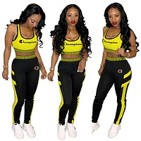 Champion Sport Vest Tank Top Pants Trousers Sweatpants Set Two-Piece Sportswear Yellow