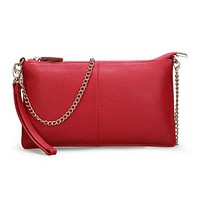 Genuine Leather Wristlet Clutch Bag
