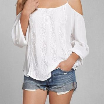 White Patchwork Lace Spaghetti Strap Off-Shoulder Comfy Chiffon Blouse