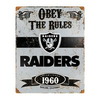 Oakland Raiders Embossed Metal Sign (Oak Team)