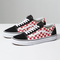 VANS CHECKERBOARD OLD SKOOL - Black/Red