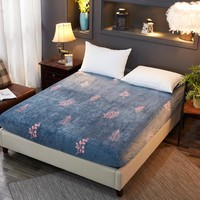 New pattern Comfortable Flannel Fleece Twin/Full/Queen/King Size Fitted Sheet bed sheet bedding Home textiles Dark blue leaves