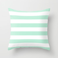 Stripe Horizontal Mint Green Throw Pillow by BeautifulHomes
