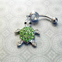 Green Rhinestone Sea Turtle Belly Button Ring