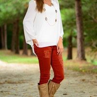 Hold My Heart Blouse, White