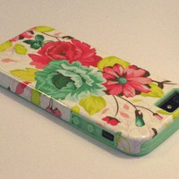 DandyCase 2in1 Hybrid High Impact Hard Pink Floral Pattern + Mint Green Silicone Case Cover For Apple iPhone 5S & iPhone 5 (not 5C) + DandyCase Screen Cleaner