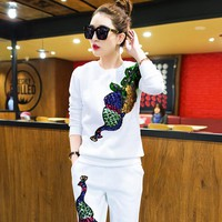 Women Tracksuits Suits Brand Set 2019 Spring Sequin Elegant Pant Suit 2 Piece Set Women Blouse Sweatshirt And Pants Sets
