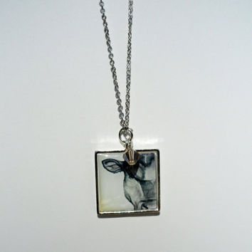 Cow Charm Necklace - Unique Jewelry - Cow Painting - SamIamArt