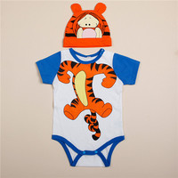 2PCS/0-24M/Summer 2016 kids clothes new born baby girls boys rompers+hat long-sleeved jumpsuit infant clothing set