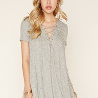 Marled Lace-Up Mini Dress