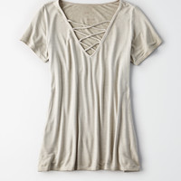 AE SOFT & SEXY SHORT SLEEVE LACE-UP T-SHIRT, Olive