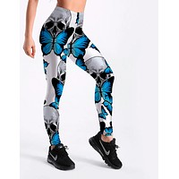 Women Blue Butterfly Leggings