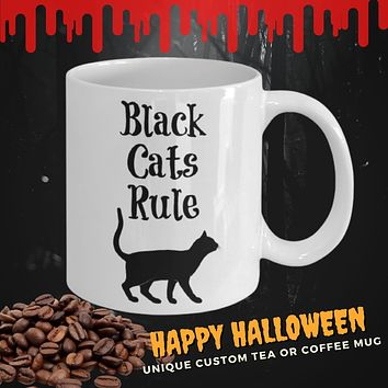 Black Cat Coffee Mug Funny Tea Cup Gift For Cat Lovers Owners Gift for her Halloween