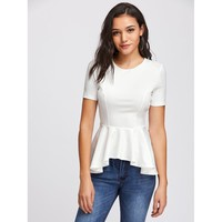White Princess Seam Asymmetric Peplum Top