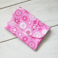 Fabric wallet, pink wallet, velcro closure, coupon holder, fully lined, women's accessory, ready to ship, handmade, cotton fabric, cute