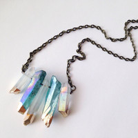 Titanium Quartz Crystal Necklace Aura Crystal Healing Crystals and Stones Aura Quartz Rainbow Crystal Boho Pendant Gold Dip Crystal
