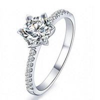 Cocktail Fine Jewelry Solid Sterling Silver White Topaz Diamonique Ring Sz 3-10 for love Gift