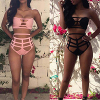 High Waist Bikini 2017 Sexy Bandage Bikini Set Japan School Swimwear Women Brazilian Biquini Strappy Swimsuit Black Bathing Suit