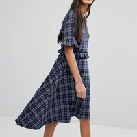 Vero Moda Tall Check Frill Skater Dress at asos.com
