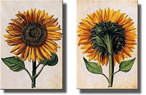 Image of Sunflowers Picture on Stretched Canvas, Set of 2 , Wall Art Decor Ready to Hang!.