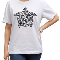 Women Tribal Turtle Abstract Tattoo Print Short Sleeves T- Shirt WTS_17