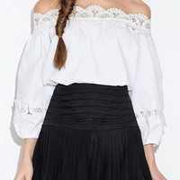 White Off shoulder Lace Trim 3/4 Sleeve Blouse
