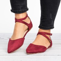 Strappy Pointed Toe Flats - Burgundy