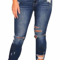 Women's Dark Blue Denim Destroyed Ankle Length Skinny Jeans
