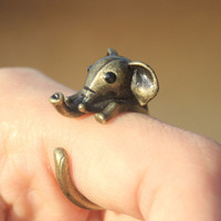 Jumping elephant burnish ring (2color)/Animal Jewelry/Antique ring/ adjustable size5~9