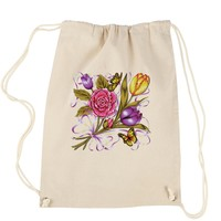 Spring Flower Bouquet Drawstring Backpack