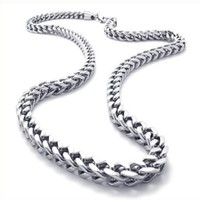 KONOV Stainless Steel Mens Necklace Link Chain - Silver - Length 22 inch