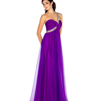 - One Shoulder Purple Chiffon Gown with Sequin & Rhinestone Embellishments