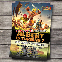 Clash Of Clans Free Gem - Invitation Card - Birthday Party Kids - InviteKids