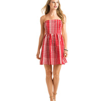 Multi Scale Gingham Strapless Dress