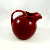 Vintage Homer Laughlin Harlequin Maroon Water Pitcher, Ball Pitcher from the 1930s