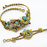Gold soutache set for her. Unique jewelry set.