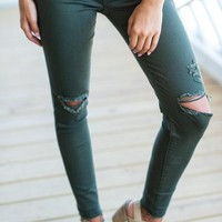 Here To Have Fun Skinny Jeans, Olive
