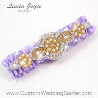 Lavender and Gold Vintage Wedding Garter Rhinestone 430 Lavender Custom Luxury Prom Garter Plus Size & Queen Size Available