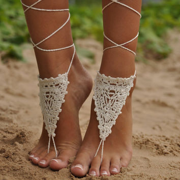 Crochet Ivory Barefoot Sandals, Nude shoes, Foot jewelry, Wedding, Victorian Lace, Sexy, Yoga, Anklet , Bellydance, Steampunk, Beach Pool