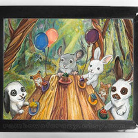 Happy Birthday Art Print Rabbits Chinchilla by rainbowofcrazy
