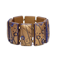 Modern Statement Bracelet Elastic Big Chunky Domino Tile Golden Blue Fashion Galaxy Designers Jewelry Polymer Clay