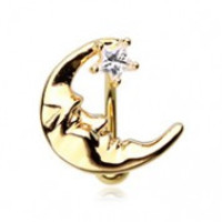 Belly Ring Moon Gold Reversible