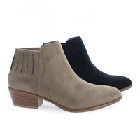 Manny02 Almond Toe Ankle Ribbed Elastic Heeled Boots