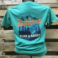 Backwoods Born & Raised God's Country Piece of Heaven Comfort Colors Bright Unisex T Shirt