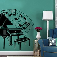 Wall Decal Piano Silhouette Vinyl Sticker Decals Musical Notes Waves Music Musical Instrument Wall Decal Recording Studio Decor Art C532