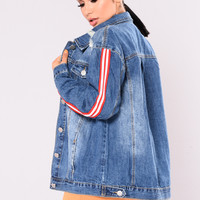 Intermission Stripe Denim Jacket - Medium Wash