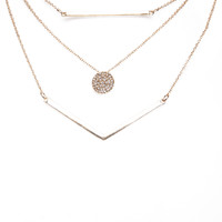 Minimalist Bar & Rhinestone Necklace Set | Wet Seal