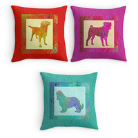 Colourful Dog Scatter Cushion, Pug, Labrador, Spaniel Throw Pillows,16x16, Home Decor, Dog Owners Gift